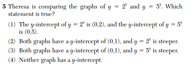Regents 2014 -- which graph is steeper